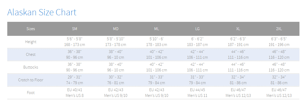 Female Size Chart for Alaskan Drysuit with Boots -