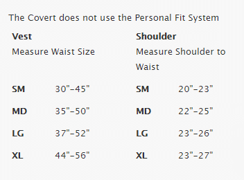 Female Size Chart for Covert XT BCD -