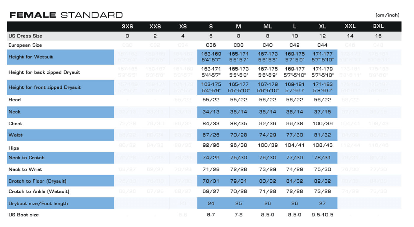 f3c56960e332be Female Click to view - Female Size Chart for D7X Nylotech Drysuit
