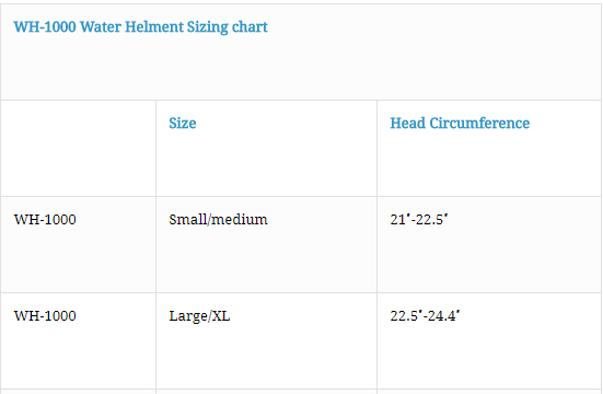 Female Size Chart for First Responder Water Helmet -