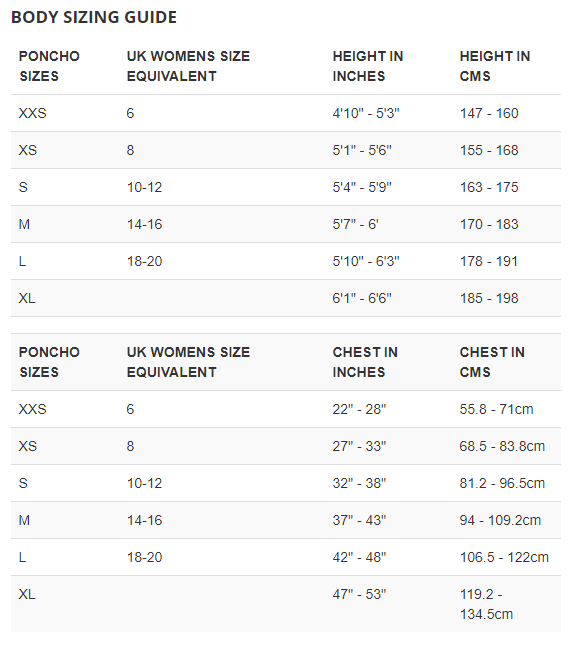 Female Size Chart for Storm Poncho  -