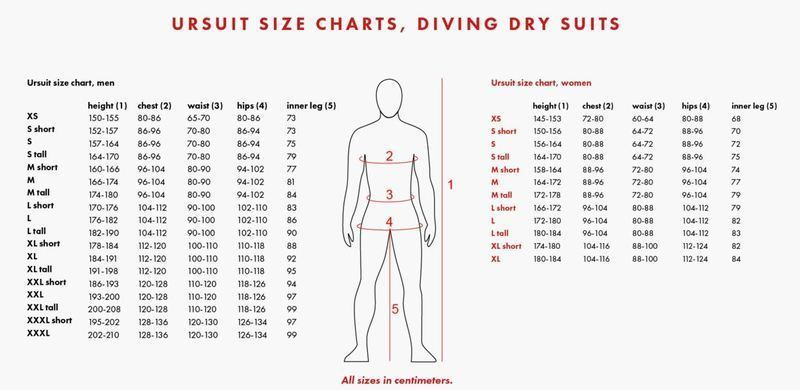 Female Size Chart for Heavy Light Rescue 2.0 Drysuit  -