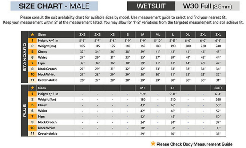 Click to view - Male Size Chart for W30 Wetsuit