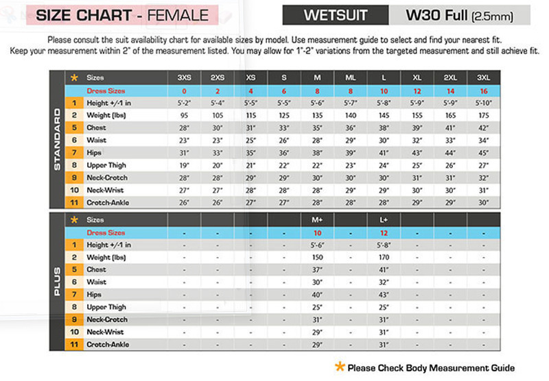 Click to view - Female Size Chart for W30 Wetsuit -