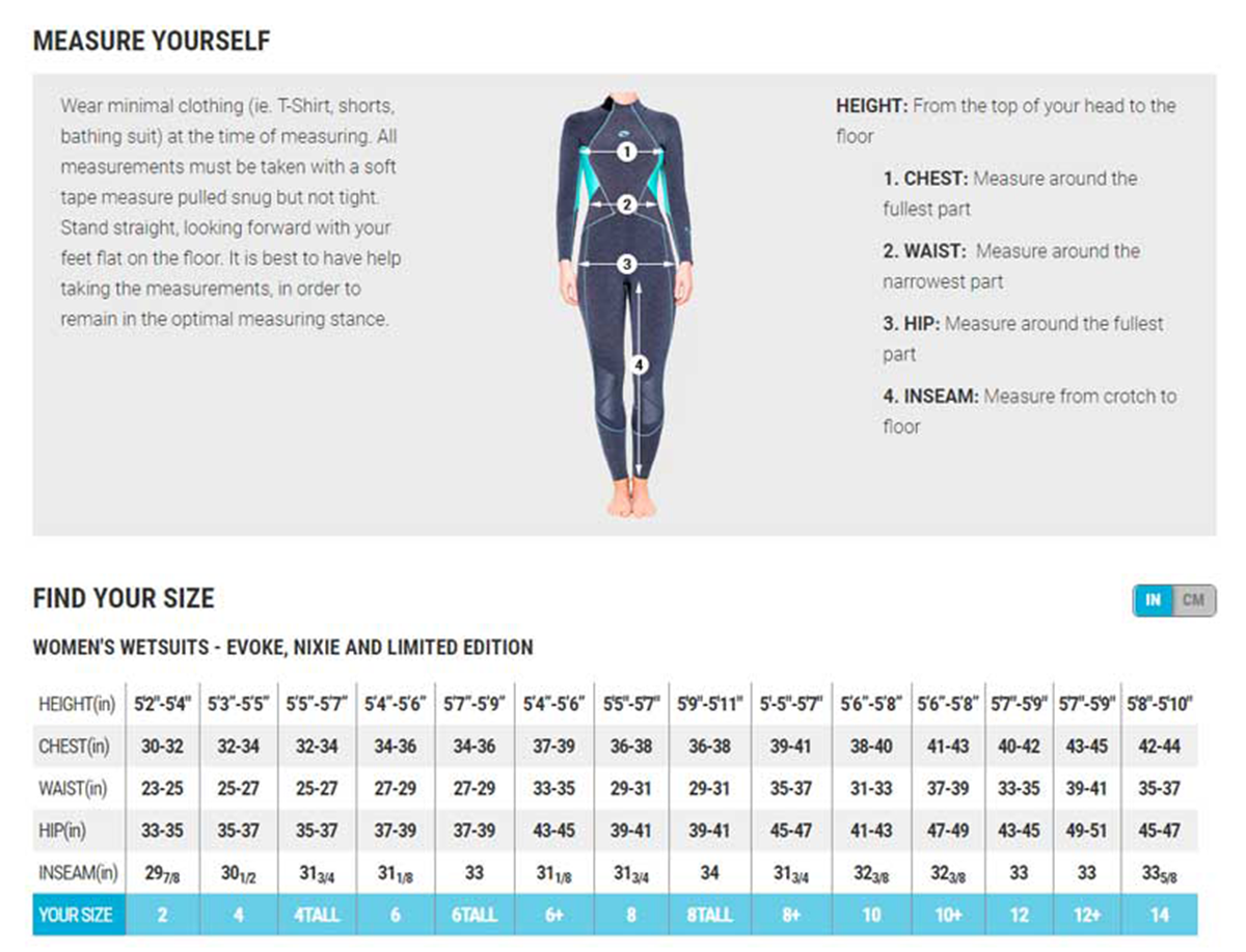 Female Size Chart for Nixie Ultra 3/2mm Women's Wetsuit -