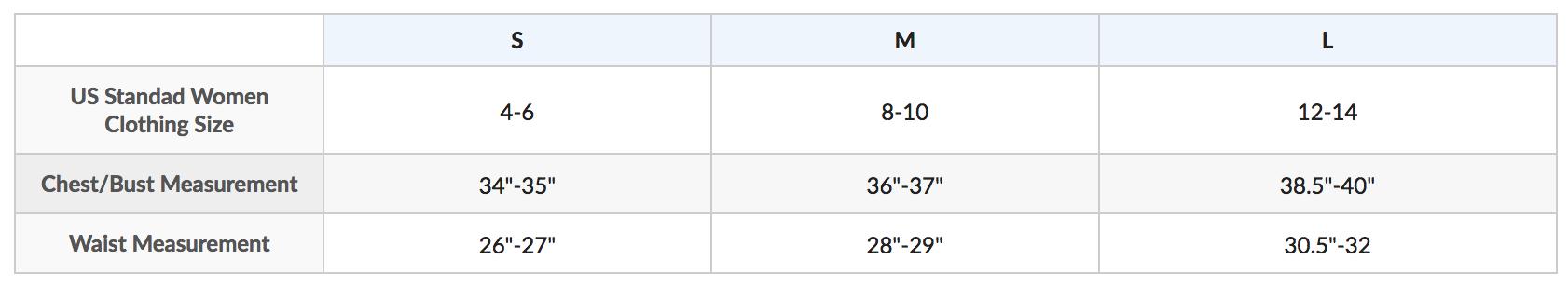 Female Size Chart for Women's Long Sleeve Galaxy Zippered Rashguard