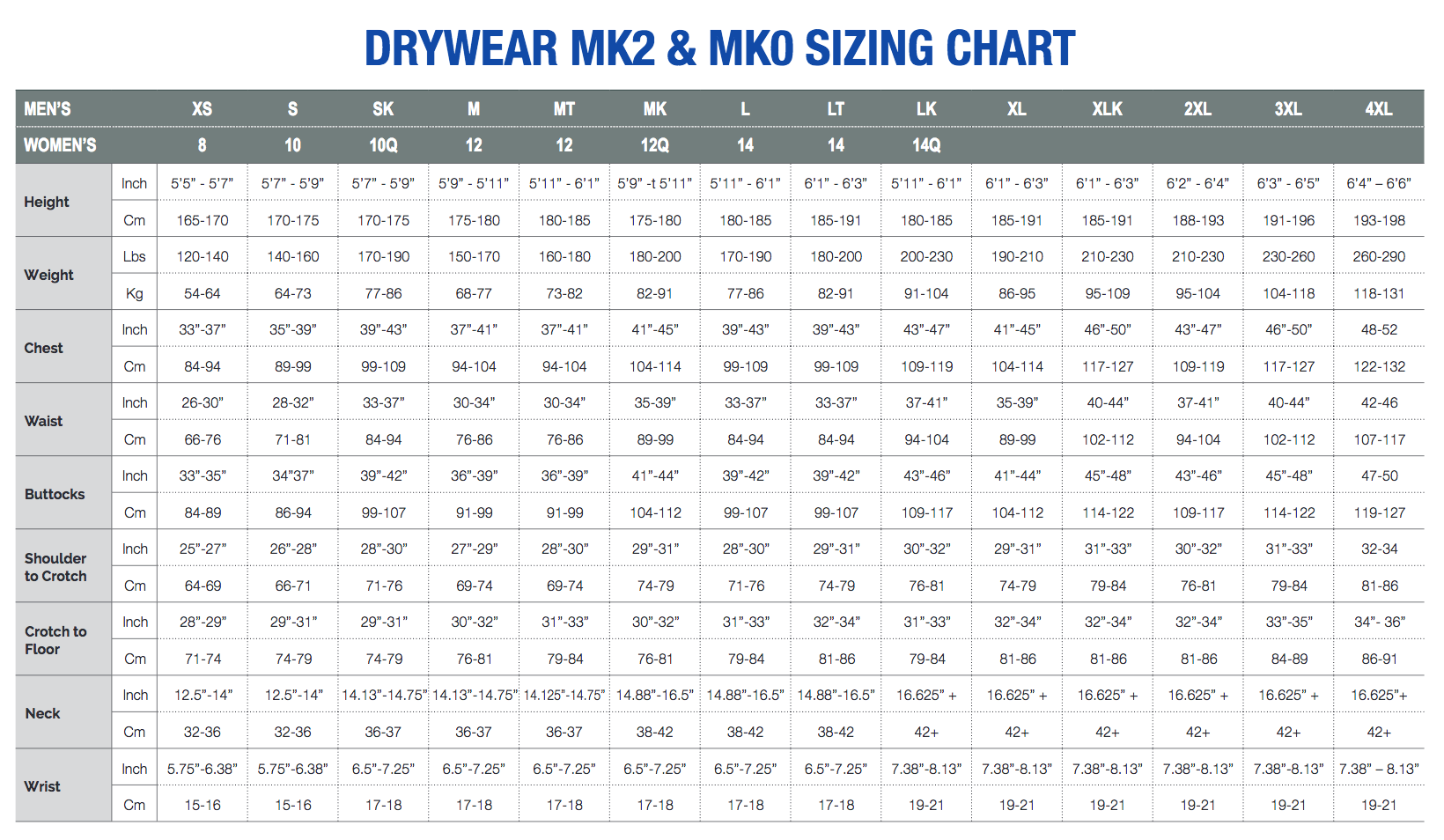 Size Chart for Whites Glacier MK2 Base John or Jacket Undergarments