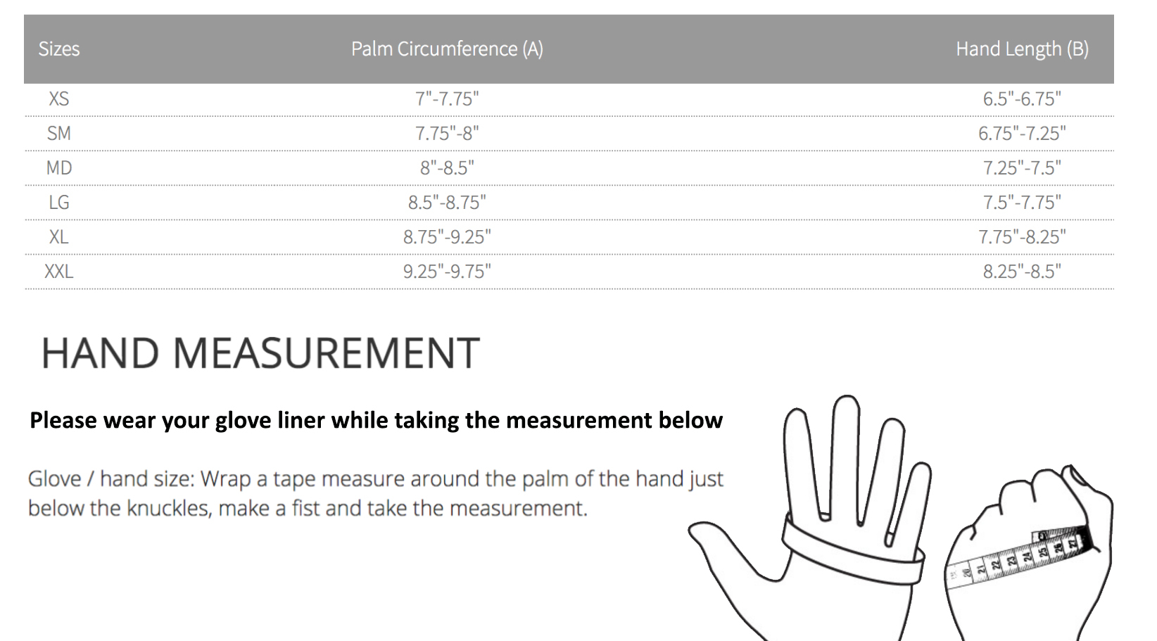 Size Chart for 620 PVC Dryglove