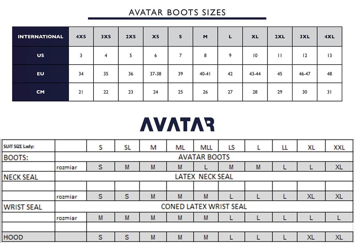Size Chart for Avatar 101 Ladie's Breathable Drysuit