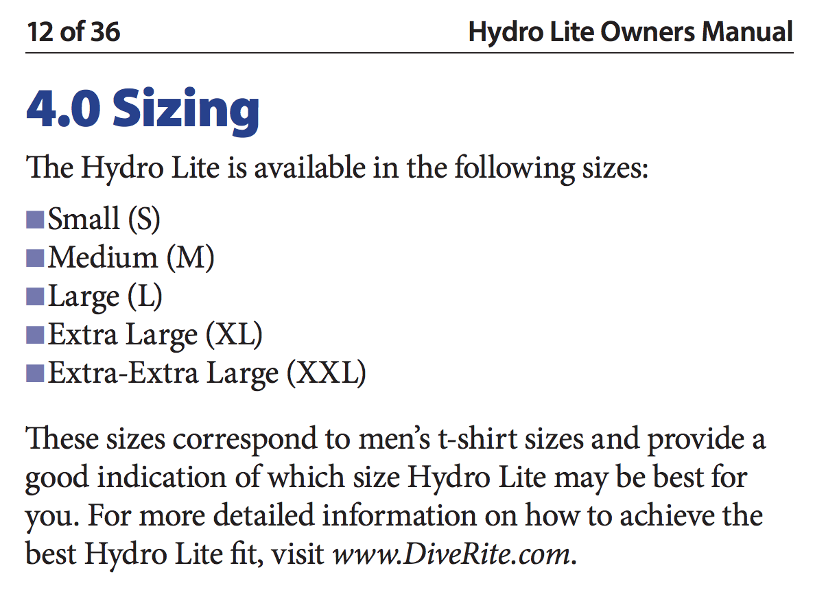 Size Chart for Hydro Lite Travel BCD