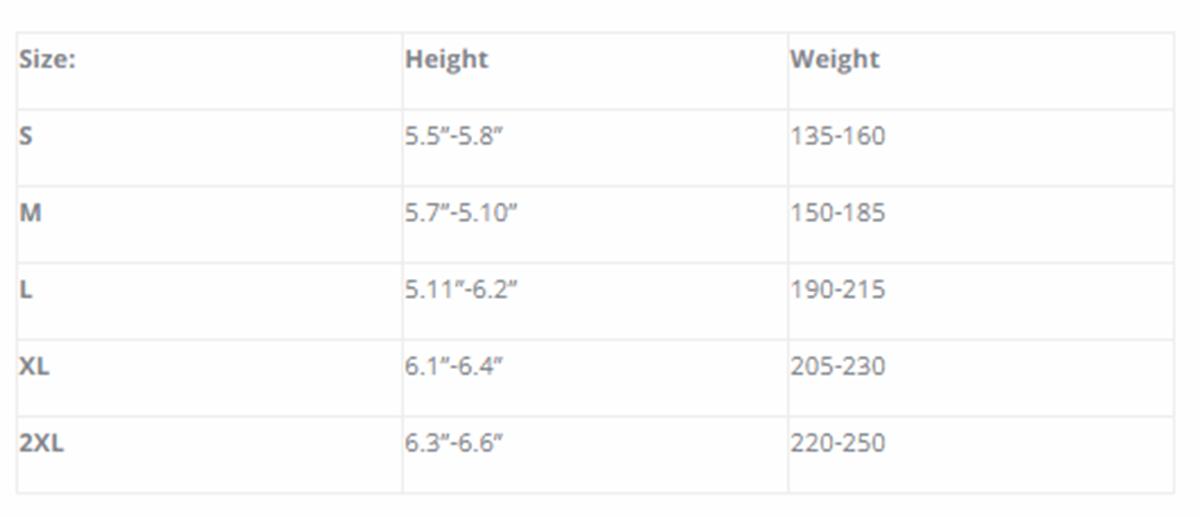 Size Chart for 250 Polar-T Undergarment