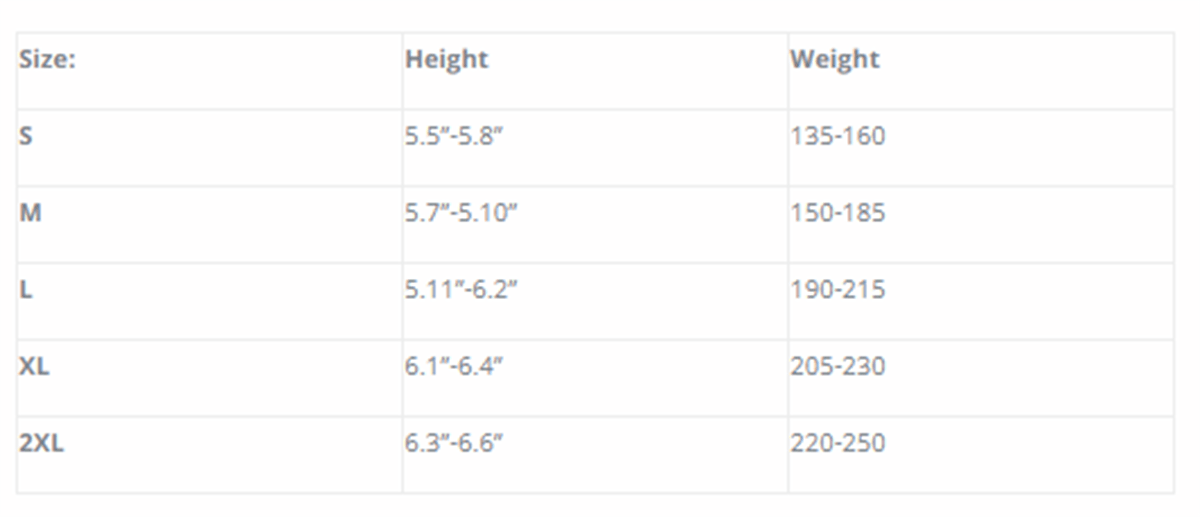 Size Chart for 500 Polar-T Undergarment