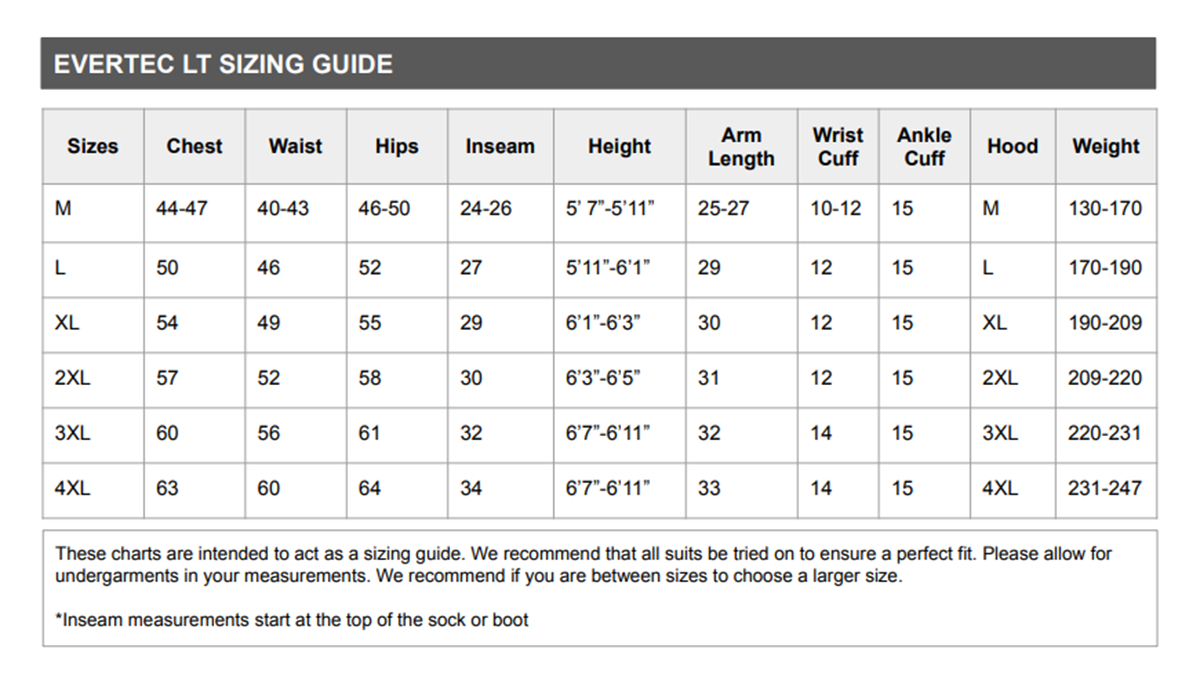 Size Chart for Evertech Dry Breathable Drysuit