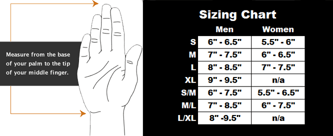 Size Chart for Fleece Dry Glove Liner