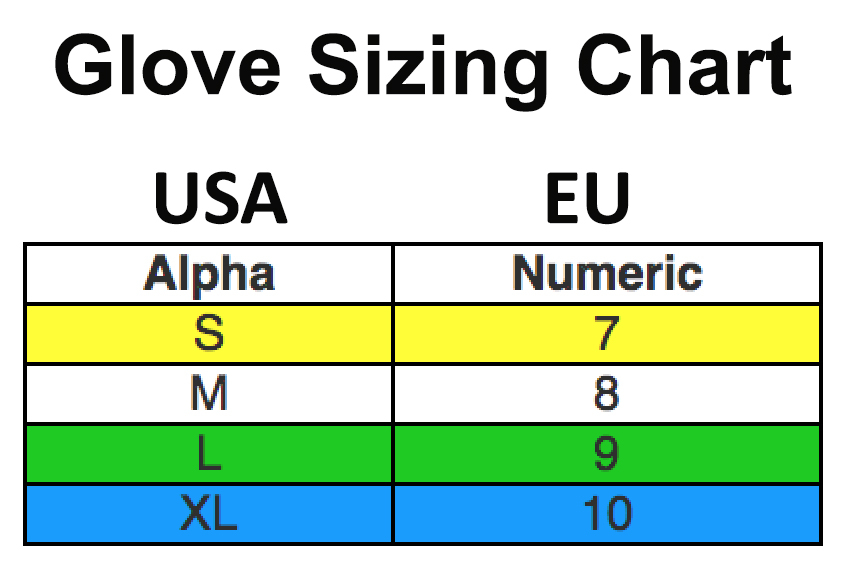 Size Chart for Super Grip Black Dry Glove