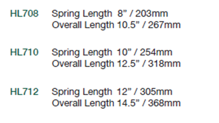 Size Chart for Technical Spring Straps