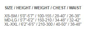 Size Chart for Tek Travel Package