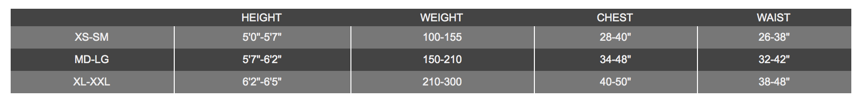 Size Chart for Elite 2 Harness