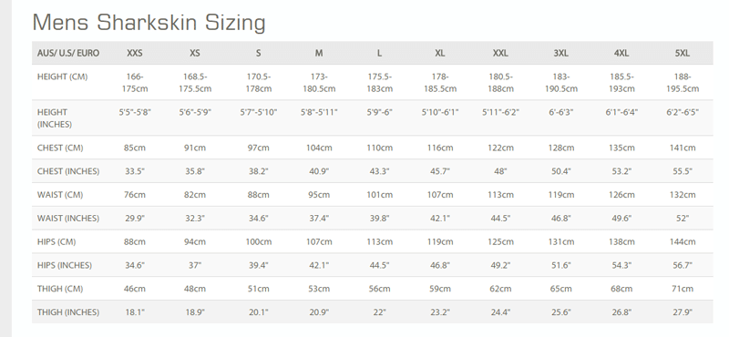 Size Chart for Chillproof Shorts