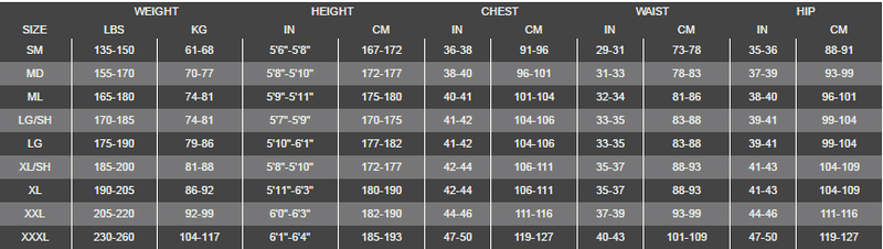 Size Chart for NeoTek V2 Semi Dry