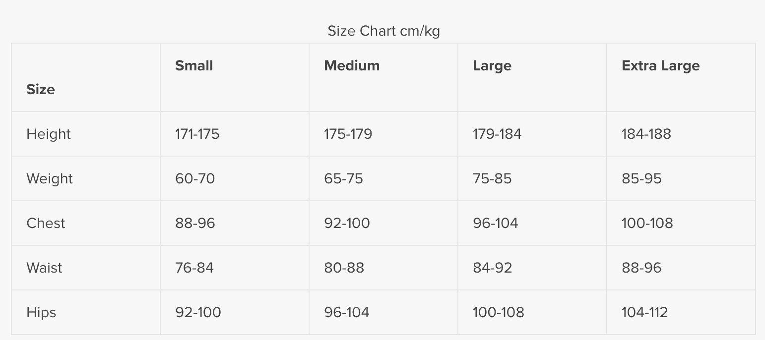 Size Chart for Smart BCD