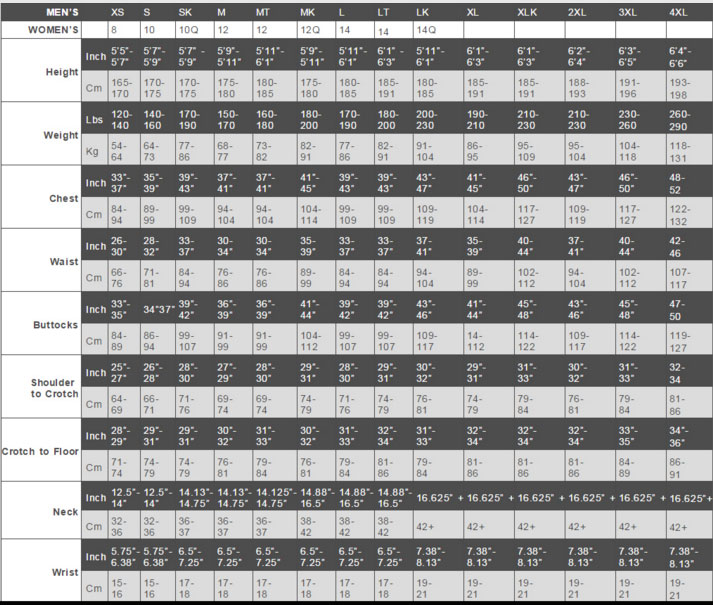 Male Size Chart for Enforcer Breathable Drysuit