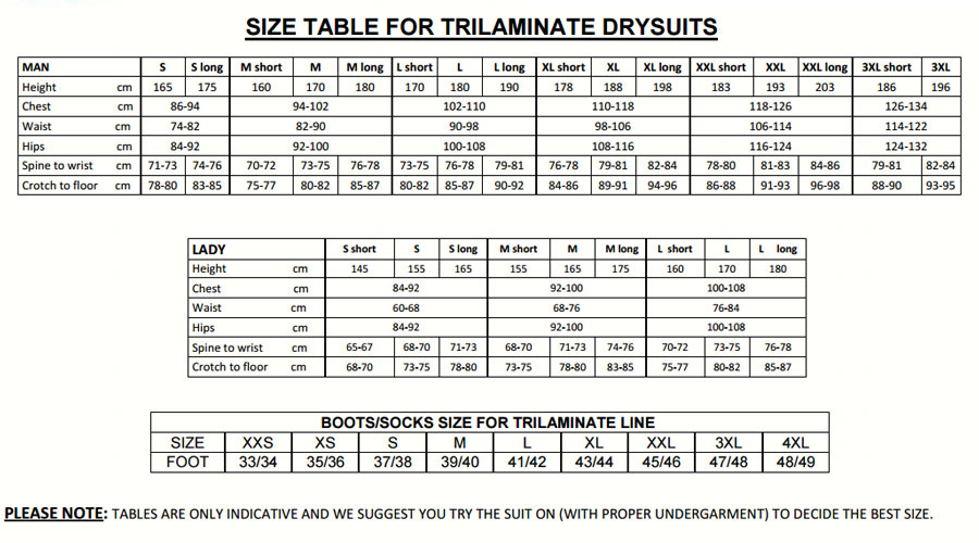 Size Chart for USED Trilaminate RS450k Drysuit XLS Blue