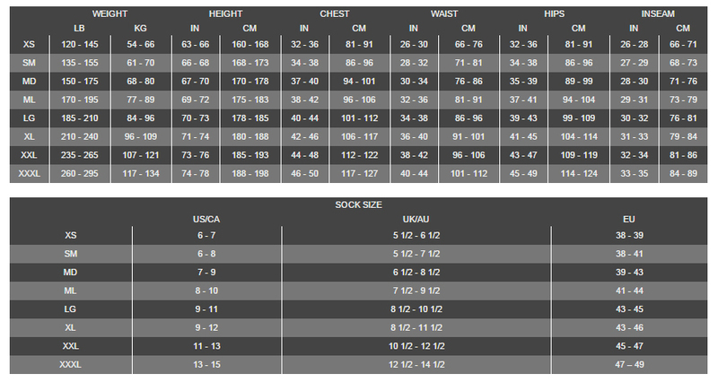 Size Chart for Demo BTR-500 Drysuit