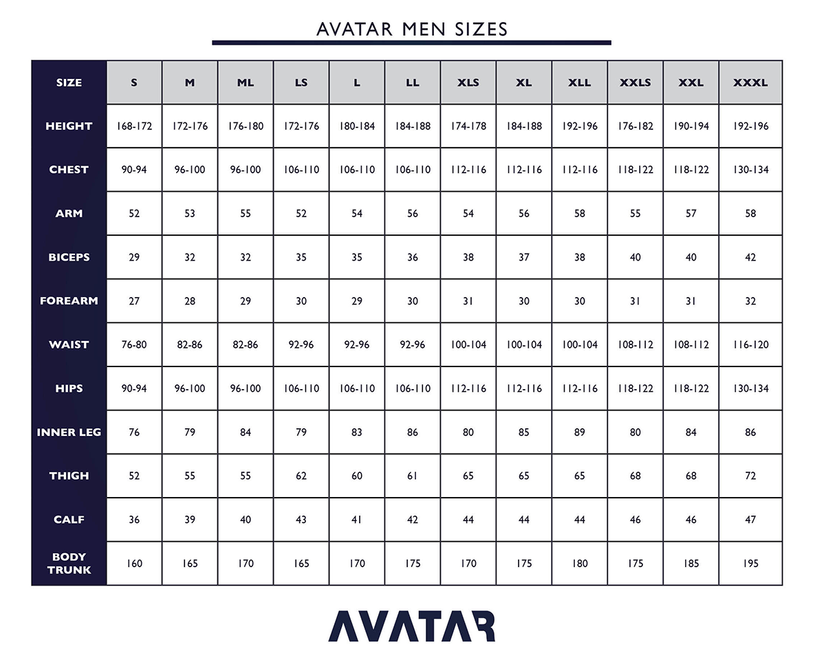 Size Chart for Avatar 101 Breathable Drysuit