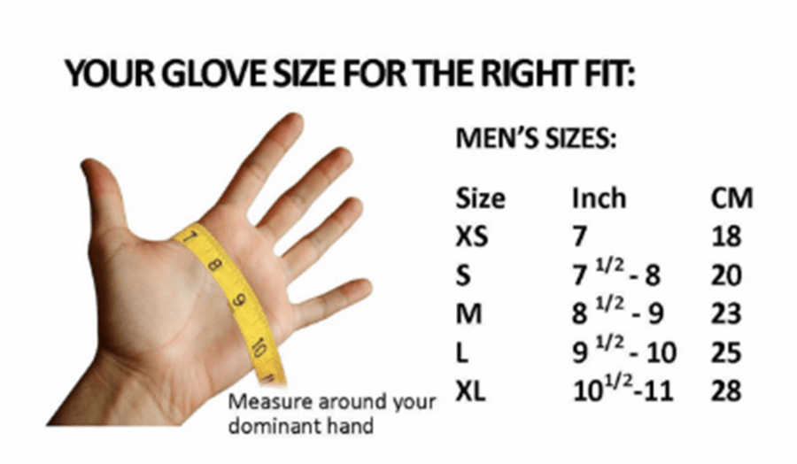 Size Chart for Dryglove Replacement with Liner