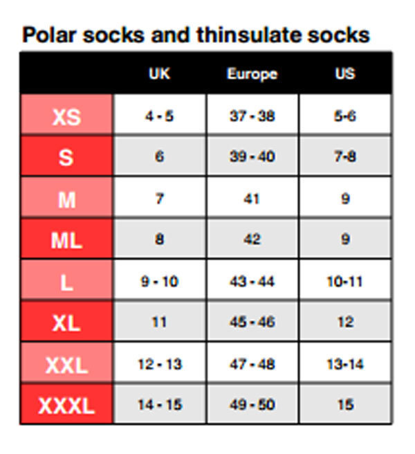 Size Chart for Thinsulate Sock