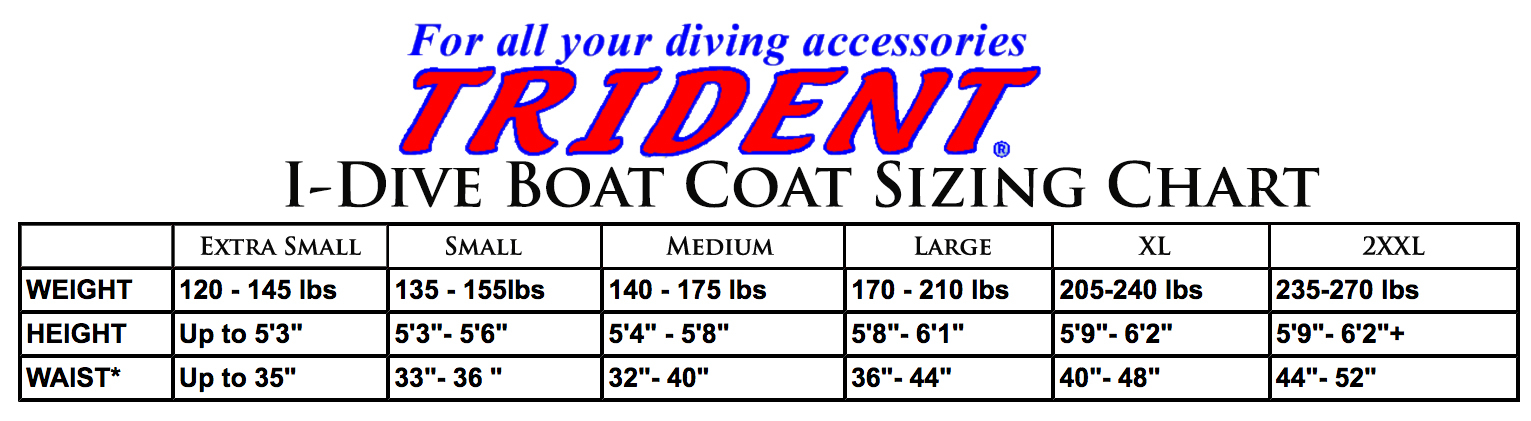 Size Chart for I-Dive Boat Coat