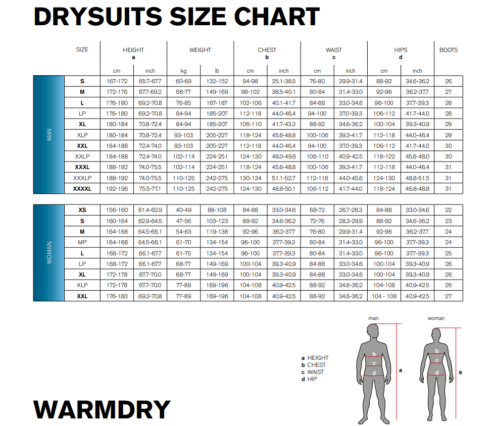 Size Chart for Warmdry Drysuit