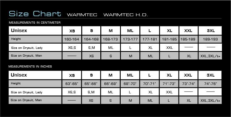 Size Chart for WarmTec 300g Fiberfill Undergarment