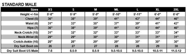 Size Chart for W4 Wetsuit