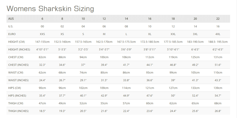 Female Size Chart for Chillproof Shorts