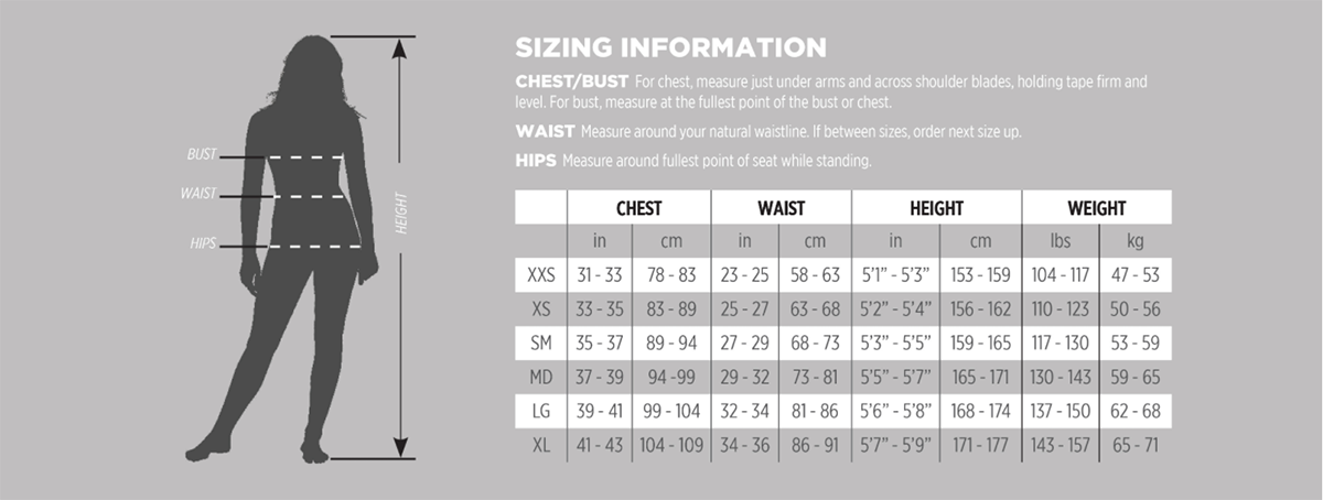 Female Size Chart for AQ-Tec Women's Long Sleeve Zippered Shirt
